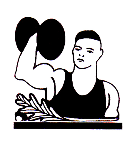 woodcut weightlifter